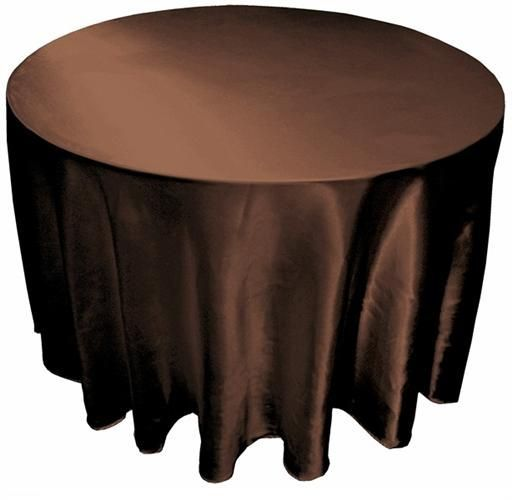 """120"""" Round Satin Chocolate Brown Tablecloth $9.47 each"""