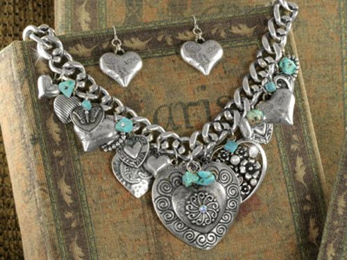 Western Cowgirl Jewelry Set Burnished Silver ~Hearts~ Faux Turquoise Jewelry Set | eBay