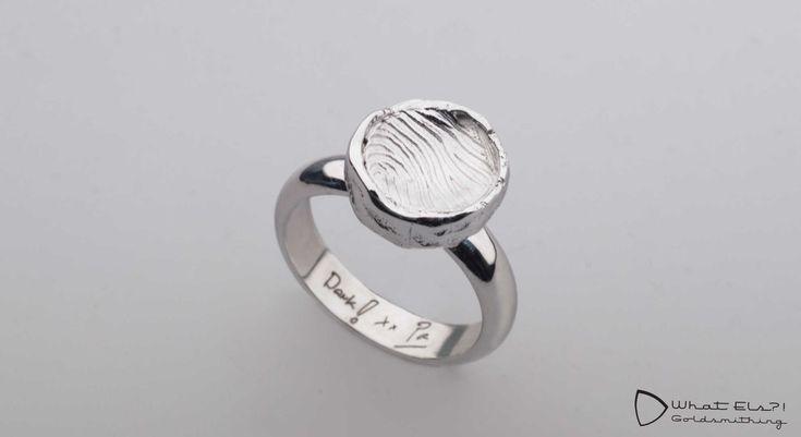Ring met vingerafdruk en tekst. Hoe mooi is het om dat lieve briefje wat je…