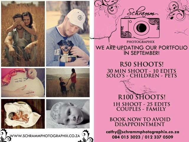 We are doing a portfolio update in September! SPECIALS FOR SEPTEMBER! R50 & R100 SPECIALS. PTA LOCATION SHOOTS Book Today to avoid disappointment.  cathy@schrammphotographix.co.za 084 015 3023 012 337 0509 www.schrammphotographix.co.za