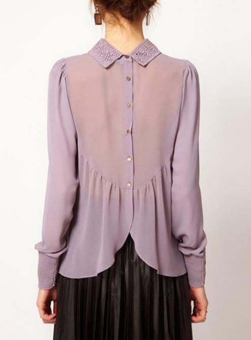 #Udobuy  Temperament Chiffon Purple Shirt