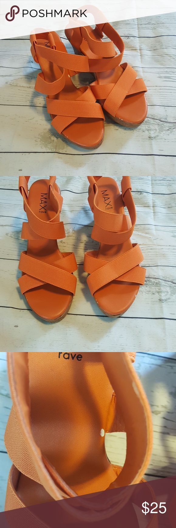 Max Rave Orange Wedges 7 Max Rave Orange Wedges 7  Minor wear inside and on bottom  All reasonable offers accepted no trades  1024 sb1 Max Rave Shoes Wedges