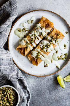Cheesy Pumpkin Taquitos with Roasted Jalapeno Pepita Crema   @RothCheese (ad)
