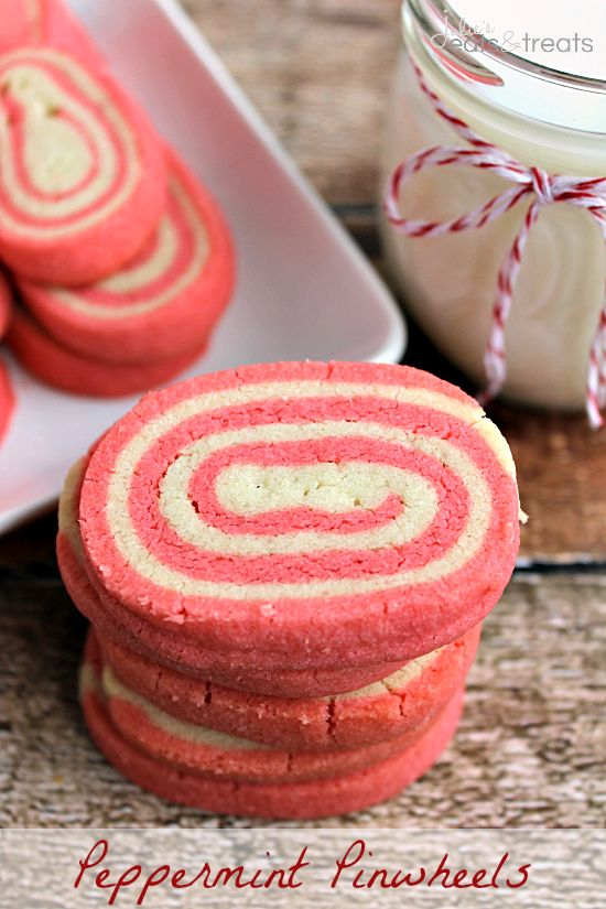 Peppermint Pinwheels ~ Festive Pinwheel Shaped Cookies flavored with Peppermint