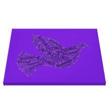 Blessings Dove, Inspirational Canvas Purple Canvas Print