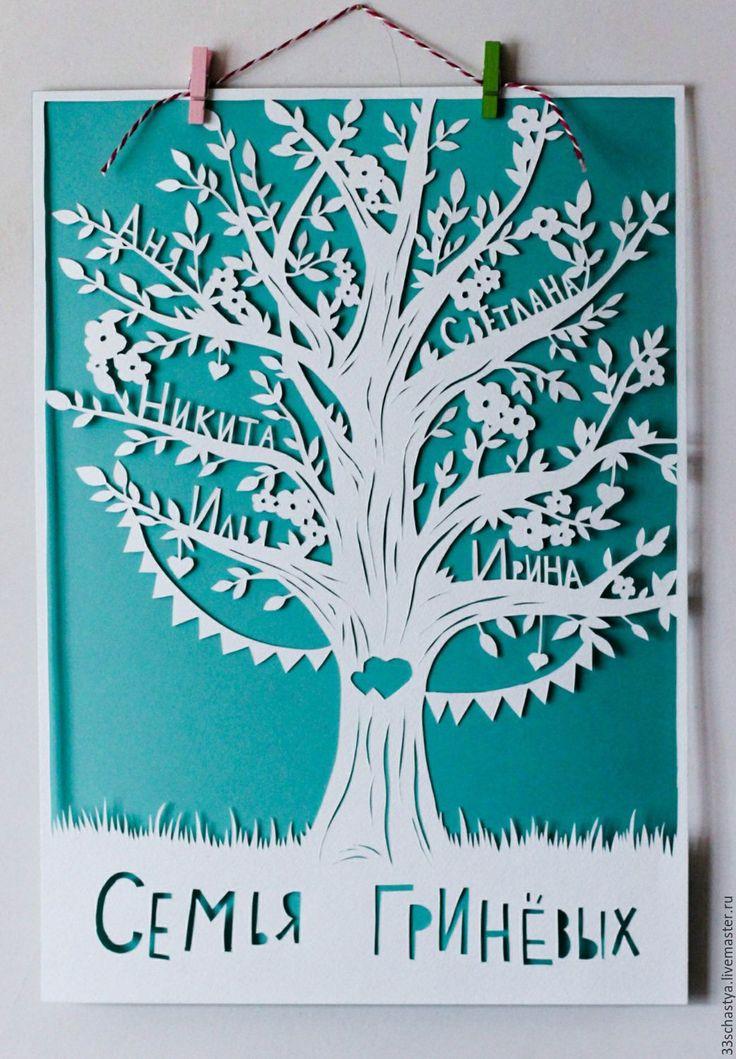 Купить Семейное дерево - мятный, белый, семейное дерево, древо, постер, вырезанная вручную