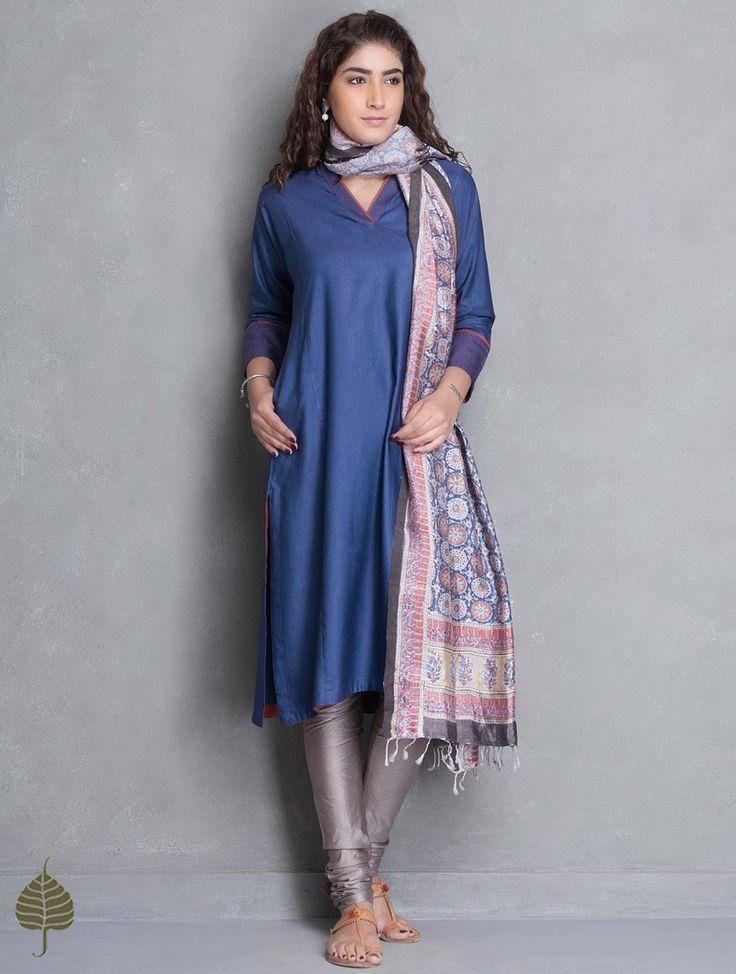 Buy Blue Rust Natural Dye Tussar Munga Kurta by Jaypore Silk Apparel Tunics & Kurtas Online at Jaypore.com