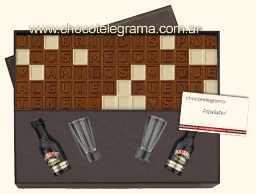 Caja Premium Baileys. Chocotelegrama de 70 chocolatitos, 2 Baileys miniatura y 2 copitas para brindar.