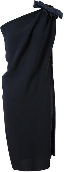 lanvin One Shouldered Crepe Silk Dress - Lyst