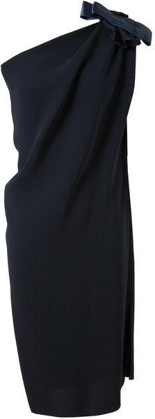LANVIN One Shouldered Crepe Silk Dress - Lyst