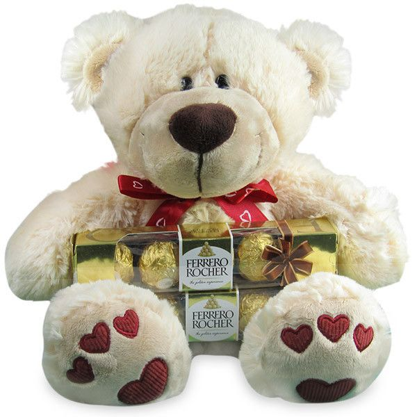 Valentines Day Special Hamper (Teddy & Chocolates) Show love for your sweetheart in a special way with this hamper which includes a teddy bear, two Ferrero Rocher packs with five pieces each and a greeting card. Content : Soft toy, 2 packs Ferrero Rocher with five pieces each and greeting card. Rs. 1,174 : Shop Now : http://hallmarkcards.co.in/collections/valentines-hampers/products/valentines-day-special