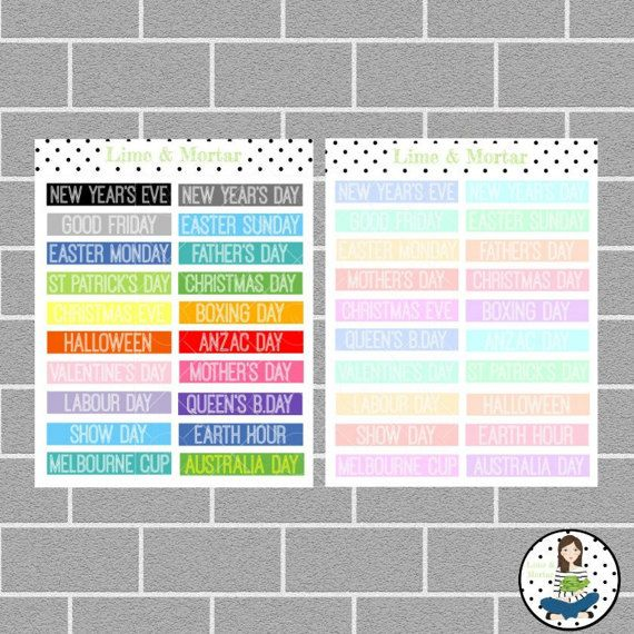 AUSTRALIAN HOLIDAYS PLANNER STICKERS  Quantity: 20 stickers  Size: 3.75cm x 0.675cm  Colour: RAINBOW, PASTEL or BLACK  These Australian Holiday stickers are perfect to mark holidays and special occasions in any planner. They are printed on premium matte sticker paper and come kiss cut on a sheet ready to stick into your planner.  SEE LISTING FOR PUBLIC HOLIDAY STICKERS: https://www.etsy.com/au/listing/215712541/public-holiday-erin-condren-planner  ** Please note...