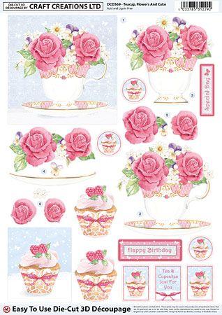 Teacup Flowers And Cake Découpage – DCD569