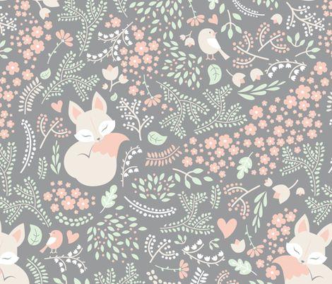 Sleeping Fox fabric by ewa_brzozowska on Spoonflower - custom fabric