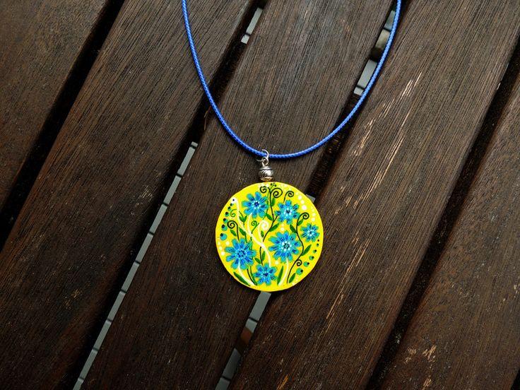 Kornblumen+Halskette,+Gelb+Blau+Anhänger+von+Amapola+auf+DaWanda.com