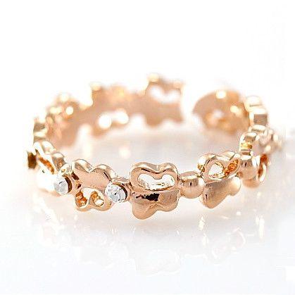 Brilliant Alloy 18K Gold Crystal Butterfly Women's Rings