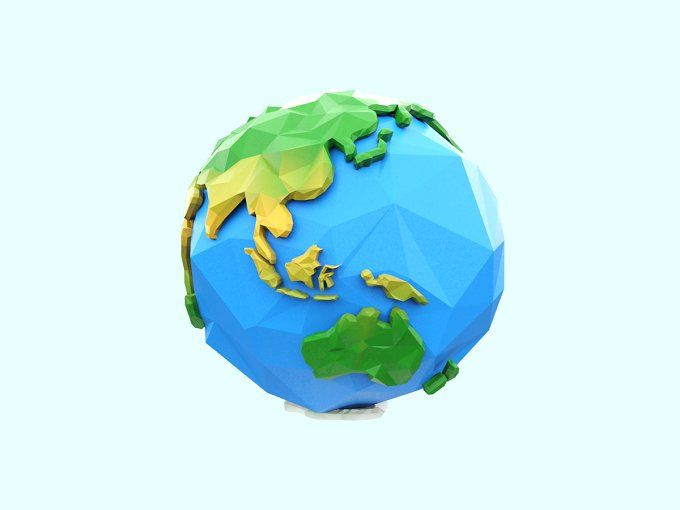 Low Poly Earth by Tedi Permana on @creativemarket