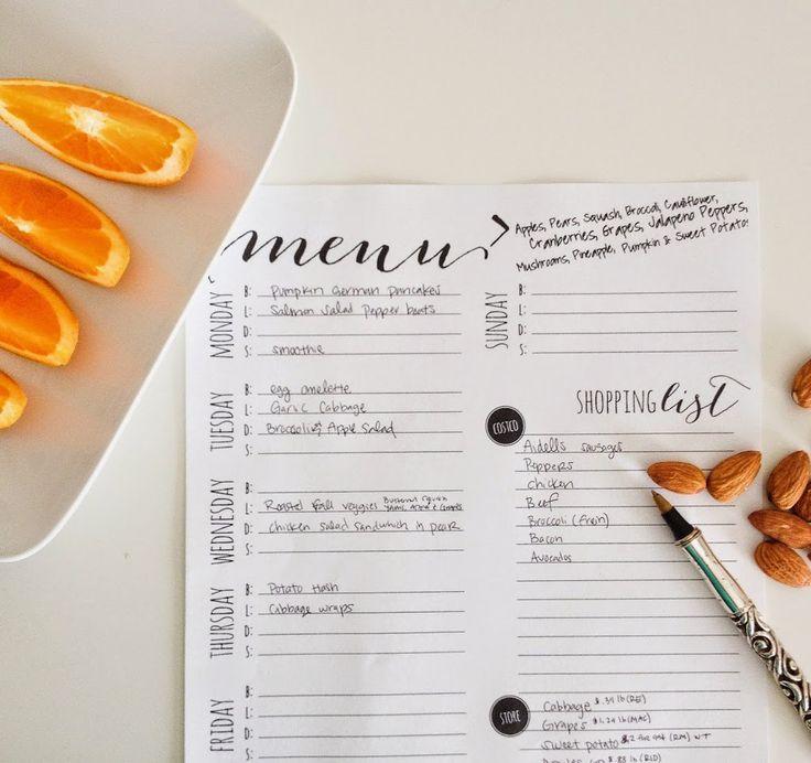 Best  Menu Planner Printable Ideas On   Meal Planning