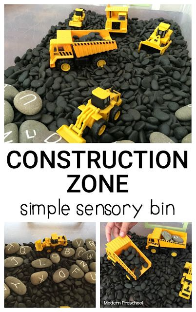 Love the letter rocks. Construction zone simple sensory bin - perfect for toddlers and preschoolers who…