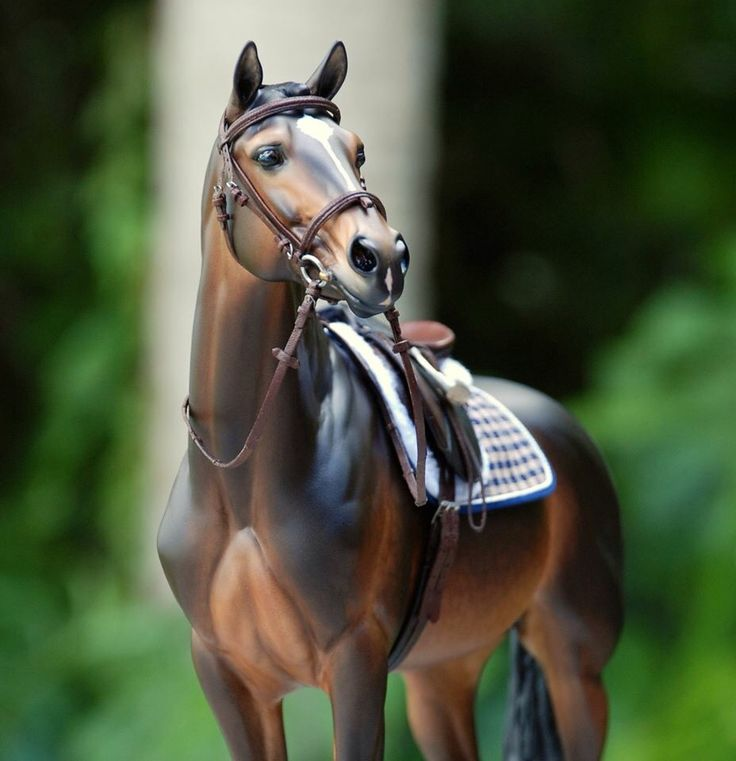 Drastic Custom Model Horse Resin Breyer Peter Stone Bay Brown English Close Contact All Purpose Saddle Cross Country Show Jumping Hunter