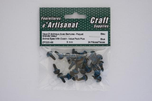 ZP220-66 Animal Eyes With Clutch 9 mm. Blue 12 Pieces