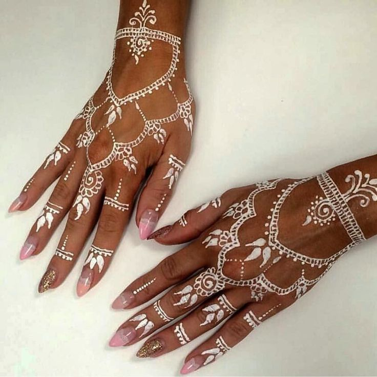 White Mehndi Tattoo : White henna tattoo with baby pink and gold glitter nail