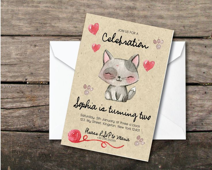 """Printable and printed birthday baby party invitation """"cute cat oldpaper"""", second birthday girl, paper and party supplies,thank you card by BeePrintDesigns on Etsy"""