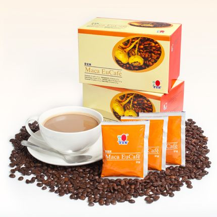 Maca EuCafé:  Product is aangepast aan de eisen van de Europese markt. Deze unieke mix bevat koffiepoeder, plantaardige kofffie room, suikerriet en Maca (Lepidium meyenii) poeder. http://ganodermakoffie.dxnnet.com/
