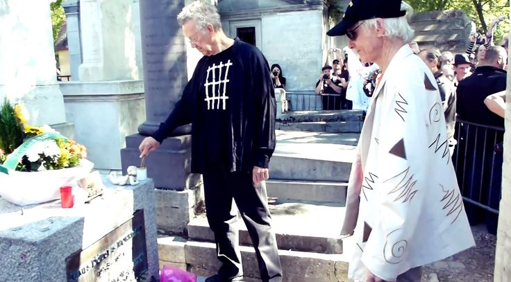 """Ray Manzarek and Robby Krieger at Jim Morrison's Grave on 3rd July 2011 - Père Lachaise. In February 2012, Ray recorded Breakn' a Sweat with DJ #Skrillex and his fellow members Robby Krieger and John Densmore. On May 20, 2013, Raymond Daniel Manczarek, keyboardist of The Doors from 1965 to 1973,  has died at the age of 74. James Douglas """"Jim"""" Morrison ☮ [Dec 8, 1943 ― July 3, 1971] ♡ The Doors. #JimMorrison #TheDoors #Legend #PereLachaise #Paris #France"""