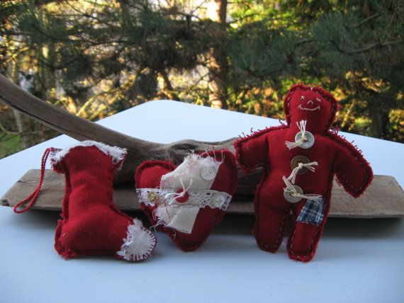 set of 3 christmas ornamentsorganic materialred by Voweco on Etsy