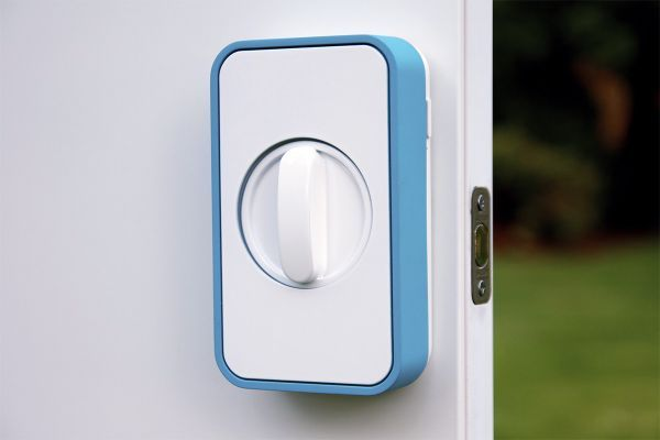 You place the Lockitron over your existing deadbolt, and it connects to your phone. So you can use your phone to lock or unlock the door from anywhere. Best of all, it fits on the inside of the door, so you don't need to worry about somebody messing with it.  Plus this device has Bluetooth; you can simply walk up to the door, and it automatically unlocks.