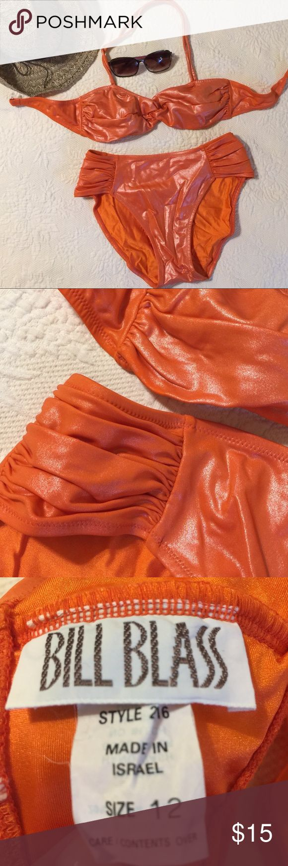 2 Piece Orange Swimsuit 2 Piece Orange Swimsuit -A stand out, eye stopping 2 piece swimsuit made of a shimmery spandex/lycra material to hold everything in place! Gorgeous! New, never worn NWOT Bill Blass Swim