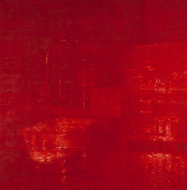 Ola Billgren (svensk, 1940 - 2001), Badrumsinteriör 1994, olja, 206 x 204 cm.