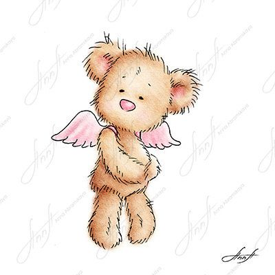 The drawing of cute teddy bear with the pink wings. Printable Art. Digital file. Instant Download