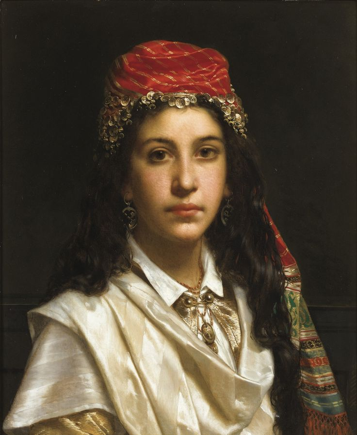 Frederik-Jan-Pieter Portielje AMSTERDAM 1829 - 1895 ANTWERP, DUTCH SCHOOL JEUNE FILLE EN COSTUME MOYEN-ORIENTAL JAN-FREDERICK-PIETER PORTIELJE; YOUNG LADY WEARING A MIDDLE-EASTERN COSTUME; SIGNED LOWER RIGHT; OIL ON PANEL Signed lower right Portielje Oil on panel  59 x 48 cm; 23 1/4 by 18 7/8 in: