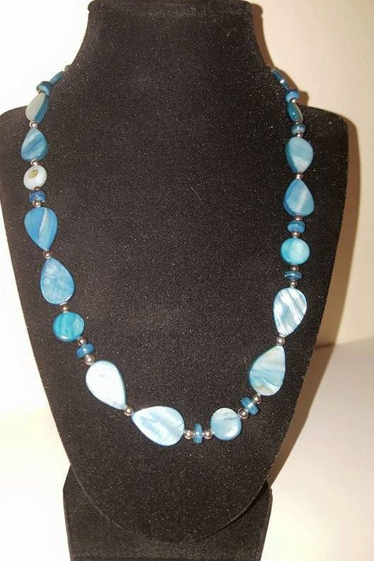 Blue Necklace  Blue Sea Shell  Sea Shell  by CandisBeadBoutique