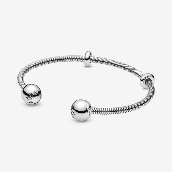 Pandora Moments Snake Chain Style Open Bangle | Pandora bangle ...