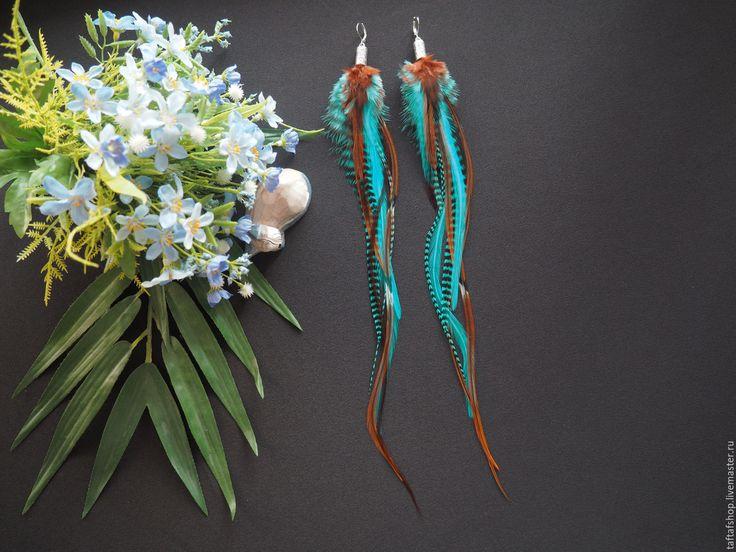 Весеннее настроение - бирюзовые серьги с перьями в стиле бохо - перья, перо, серьги с перьями