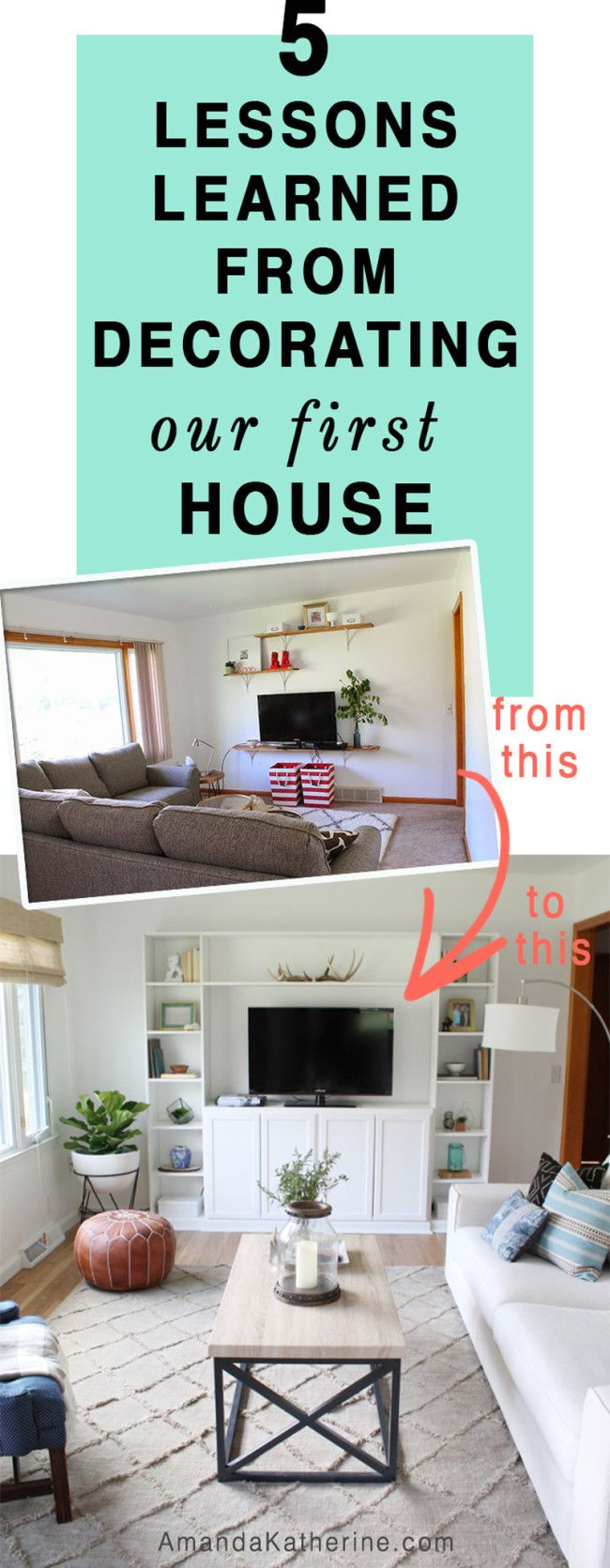 After 2 years of decorating our first house, I'm sharing our biggest mistakes/regrets/things we wish we did differently. I struggled to decorate our home for the first year, but once I found my decorating groove, I had the confidence to know what to buy and what pieces looked good together. Click to read the 5 lessons I learned and how I transformed our home.