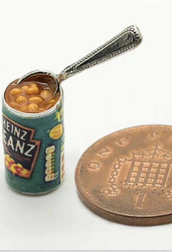 1:12 Scale Baked Beans Tin Dolls House Miniature Cans Food Accessory