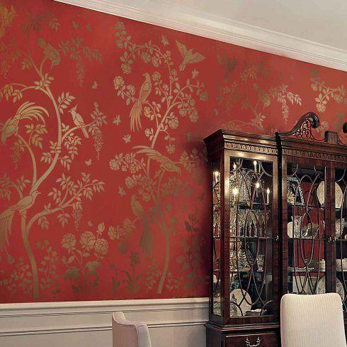 Chinoiserie chic stencils cutting edge stencils wall mural for Chinoiserie wall mural