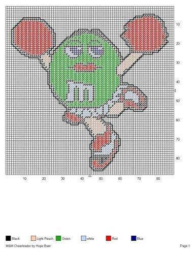 GREEN M&M CHEERLEADER by HOPE BAER -- WALL HANGING