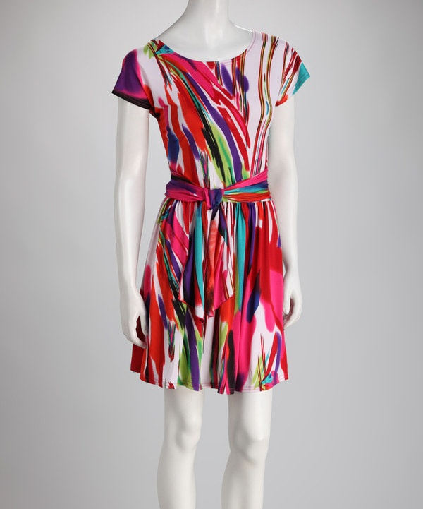 Take a look at this Ice Silk Pink Paint Dress on zulily today!