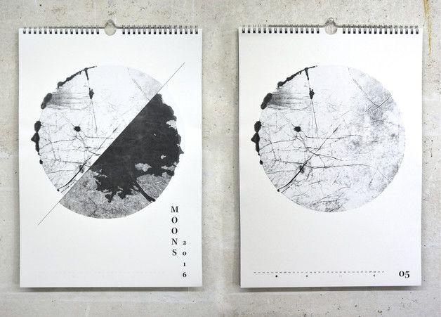 Wandkalender - Wandkalender Moons 2016 Monotypie Mondkalender - ein Designerstück von umami-DesignedByHannah bei DaWanda