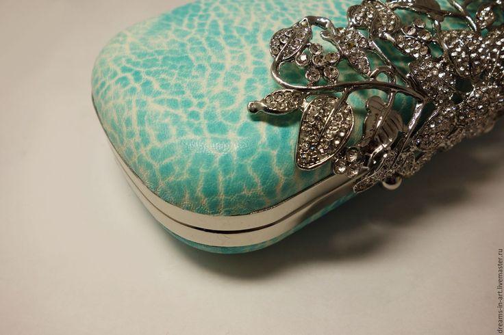 Купить Кожаный клатч-бокс Aqua - бирюзовый, кожаная женская сумка, сумочка мини