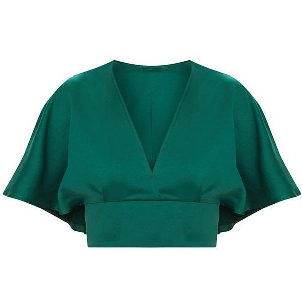 Emerald Green Satin Flare Sleeve Plunge Crop Top ($28) ❤ liked on Polyvore featuring tops, blue top, emerald green tops, flared sleeve top, bell sleeve tops and satin top