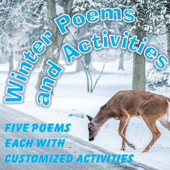 """This activity provides the following poems: """"Dust of Snow"""" and """"Stopping by Woods on a Snowy Evening"""" by Robert Frost, """"Winter Time"""" by Robert Louis Stevenson, """"To Winter"""" by Willliam Blake,and """"Blow, Blow Thou Winter Wind"""" by Shakespeare.  Each poem is followed by 2-10 questions about content, imagery, rhyme scheme, context clues and figurative language. #alternativetochristmas #poetry #highschoolenglish"""