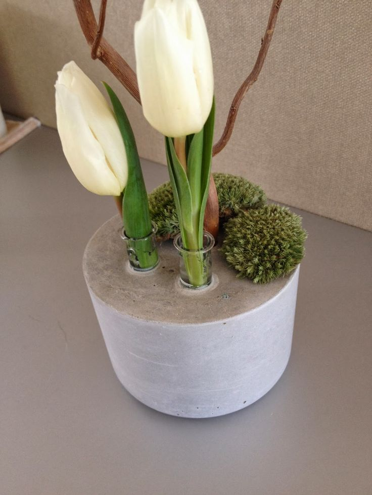 #DIY beton/cement/concrete idea. Cute with the test tubes! Reageerbuisjes in beton.