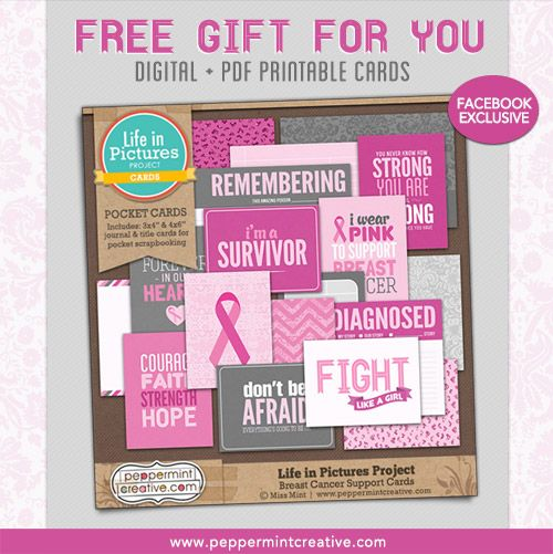 Free Printable Breast Cancer Support Pocket Scrapbooking Cards. Individual JPG files + printable PDF.