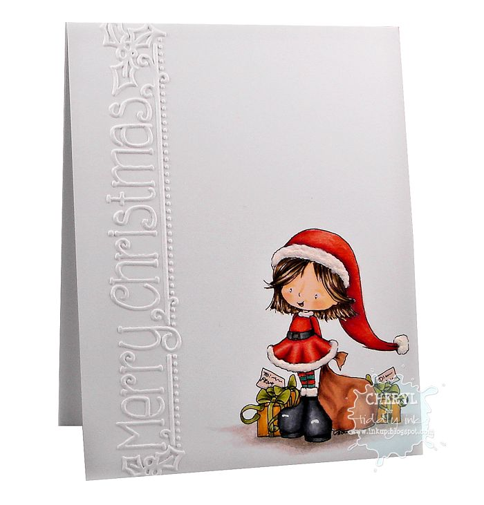 Ink Up: CAS Christmas card using the Christmas Cutie-Emma digital stamp from Tiddly Inks. Colored with Copics and a Snow Marker.